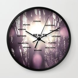 Best Activities Physical Mental Health Purple Sun Wall Clock