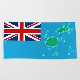 Fiji Map with Fijian iTaukei Flag Beach Towel