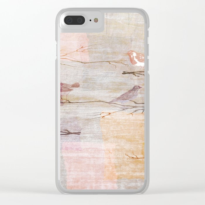 Golden Pink Birds Clear iPhone Case