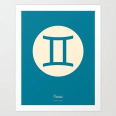 Gemini Symbol Blue Art Print