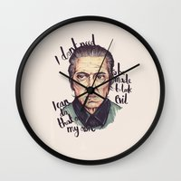 christopher walken Wall Clocks featuring Christopher Walken by Ella Betts