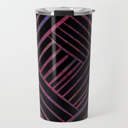 SAVANT black with bright pink and purple lines pattern Travel Mug