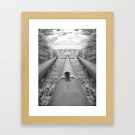 0925-LP Industrial Nature Nude Woman Straddling Massive Hydro Pipe Framed Art Print