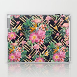 Tropical floral, flamingos and gold strokes pattern Laptop & iPad Skin