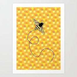 Bees on Honeycomb Pattern Art Print