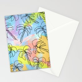 Palm tree pattern summer illustration tropical beach California pastel color Stationery Cards