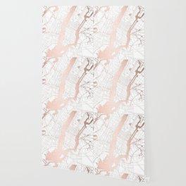 New York City White on Rosegold Street Map Wallpaper