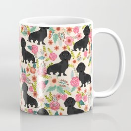 Doxie Florals - vintage doxie and florals gift gifts for dog lovers, dachshund decor, black doxie Coffee Mug