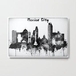Black And White Mexico City Skyline Metal Print