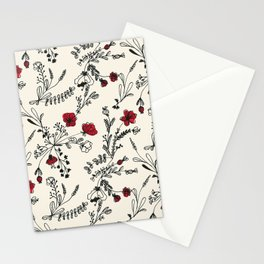 Red Flower Pattern Stationery Cards