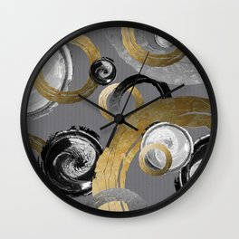 Modern Abstract Golden Rings Black and White Swirl Circles Wall Clock