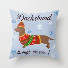 Dachshund through the snow - christmas jumper Throw Pillow