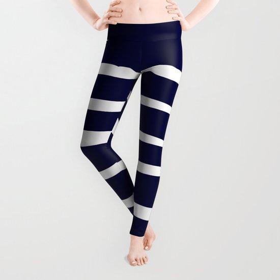 Maritime pattern- darkblue uneven stripes on clear white Leggings