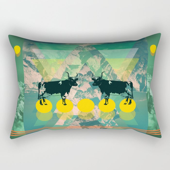 cows are dreaming of funky mountains Rectangular Pillow