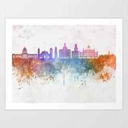 Havana V2  skyline in watercolor background Art Print