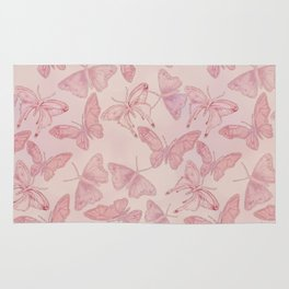 Butterfly Pattern soft pink pastel Rug