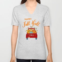 Happy Fall Y'all Vintage Pumpkin Truck Hand Lettered Hand Drawn Unisex V-Neck