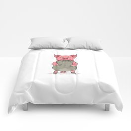pig and bag with gold coins Comforters