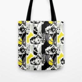 Black and White Leaf Stripe Tote Bag