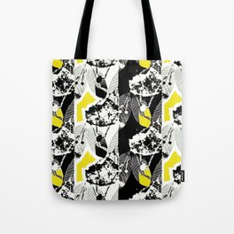 Black and White Leaf Stripe Tote Bag