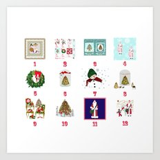 Advent Calendar Day one to Twelve Art Print