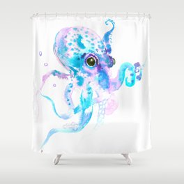 Sky Blue Soft Pink Turquoise Violet Octopus, teal animal beach art Shower Curtain