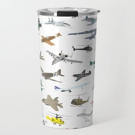 Various Colorful Airplanes and Helicopters Travel Mug