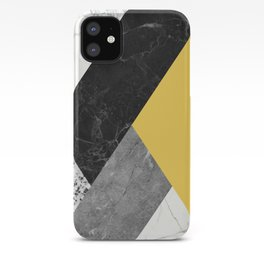 Black and White Marbles and Pantone Primrose Yellow Color iPhone Case