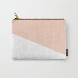 Geometric Blush Pink + White Carry-All Pouch