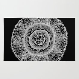 Cell Mandala (White on Black) Rug