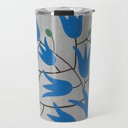 Blue Bell Flowers on Silver Background – Blue Bell – Scandinavian Folk Art Travel Mug