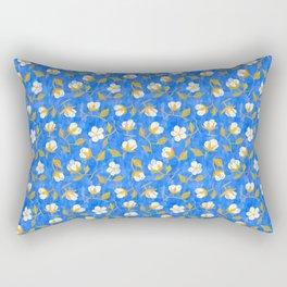 Painterly cotton flowers // in cobalt blue Rectangular Pillow