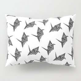 Paper Crane Bird Origami Doodle Pattern Pillow Sham