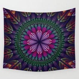 Summer mandala with fantasy flower and petals Wall Tapestry