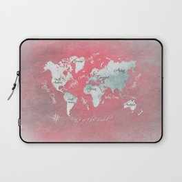 world map 143 red white #worldmap #map Laptop Sleeve