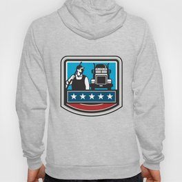 Pressure Washer Worker Truck Crest USA Flag Retro Hoody