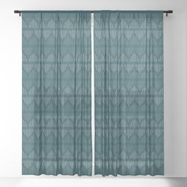 Minimalist Mudcloth 3 in Cream and Olive on Teal Sheer Curtain