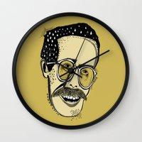 bill Wall Clocks featuring Bill by Sarah Mould