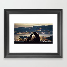 Girl and dog silhouettes  Framed Art Print