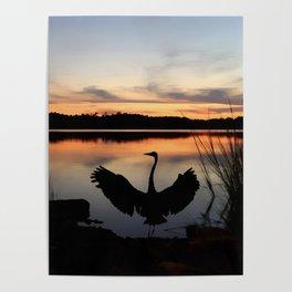 Heron Watercolor Poster