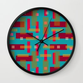 Red and Ocher Block City on Turquise Wall Clock