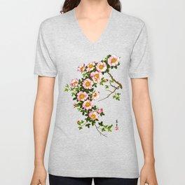 Vintage Japanese Cherry Blossoms, Pink and Gold Unisex V-Neck