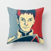 naruto Throw Pillows featuring Naruto - Hokage by KingSora