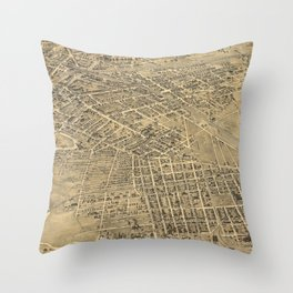 Vintage Pictorial Map of Elizabeth NJ (1898) Throw Pillow