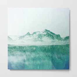 steppe mountains mint green aesthetic landscape art altered photography Metal Print