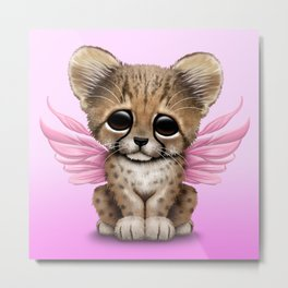 Cute Baby Cheetah Cub with Fairy Wings on Pink Metal Print
