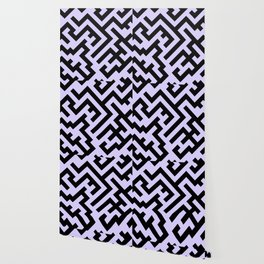 Black and Pale Lavender Violet Diagonal Labyrinth Wallpaper