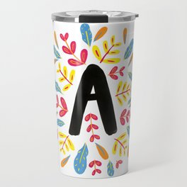 Letter 'A' Initial/Monogram With Bright Leafy Border Travel Mug