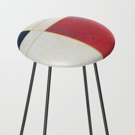 Blue, Red And White With Golden Lines Abstract Painting Counter Stool