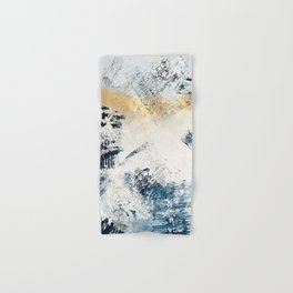 Sunset [1]: a bright, colorful abstract piece in blue, gold, and white Hand & Bath Towel
